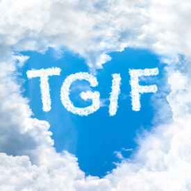 image of friday  - TGIF concept friday time happy for holiday inside blue sky shape heart from cloud frame - JPG