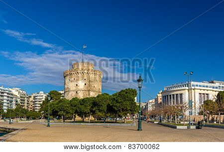 The White Tower And The National Theatre Of Northern Greece In Thessaloniki
