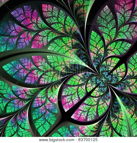 Fabulous Fractal Pattern In Blue, Green And Pink