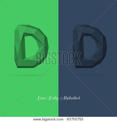 Polygonal Flat Alphabet Letter D