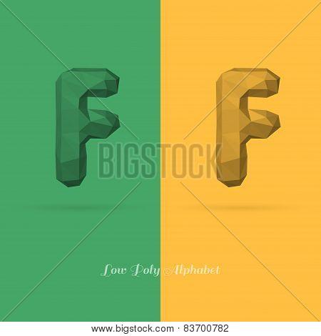 Polygonal Flat Alphabet Letter F