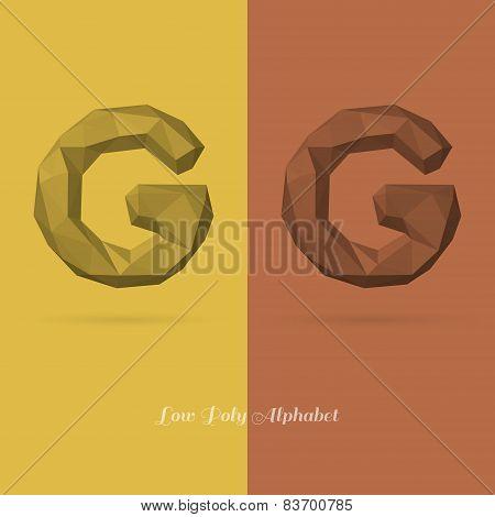 Polygonal Flat Alphabet Letter G