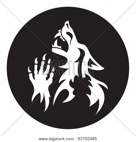 Vector werewolf stencil. White-black color.