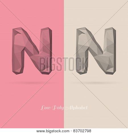 Polygonal Flat Alphabet Letter N
