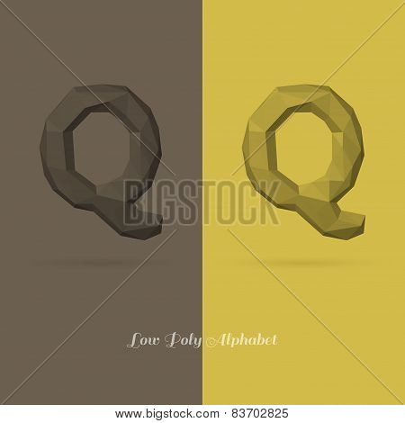 Polygonal Flat Alphabet Letter Q