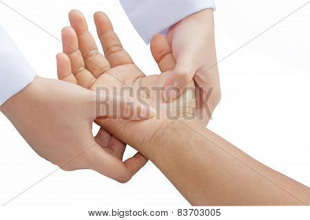 Digital Pressure Hands ,deep Fixtion Massage In White Background
