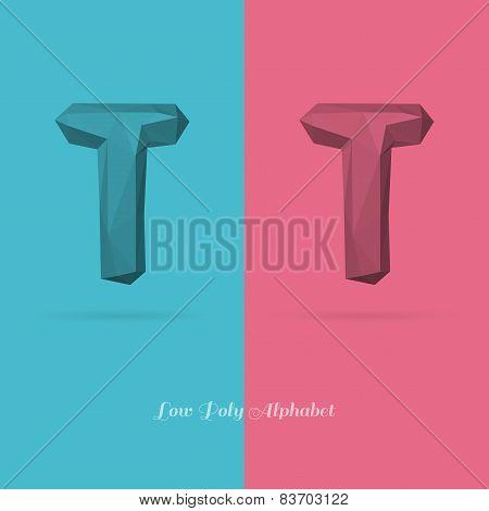 Polygonal Flat Alphabet Letter T