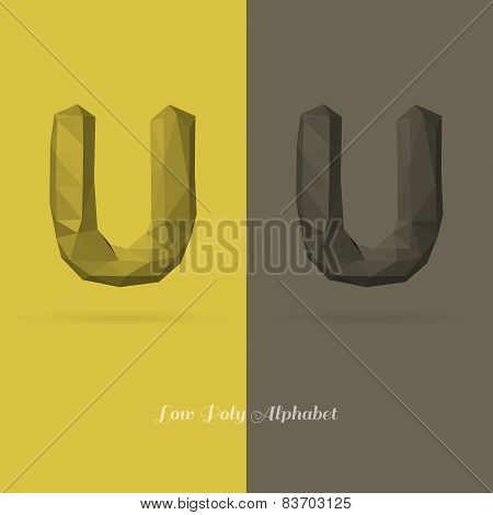 Polygonal Flat Alphabet Letter U