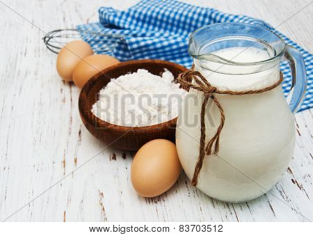 Eggs, Flour, Milk And Wire Whisk