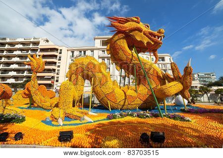 MENTON FRANCE - FEBRUARY 20: Lemon Festival (Fete du Citron) on the French Riviera.The theme for 201