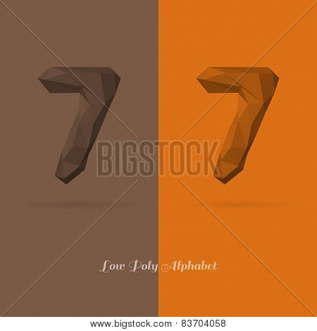 Polygonal Flat Alphabet Number 7