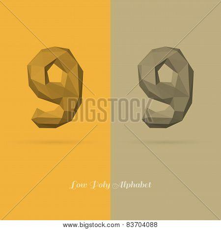 Polygonal Flat Alphabet Number 9
