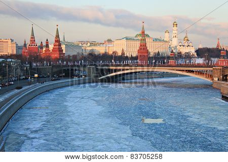 View on Moscow buildings and frozen river