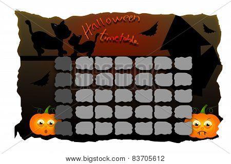 Halloween Timetable