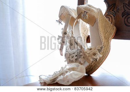 Wedding Shoes Placed On A Chair