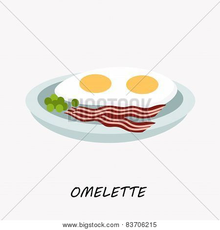 Scrambled eggs with fried bacon on a plate, vector