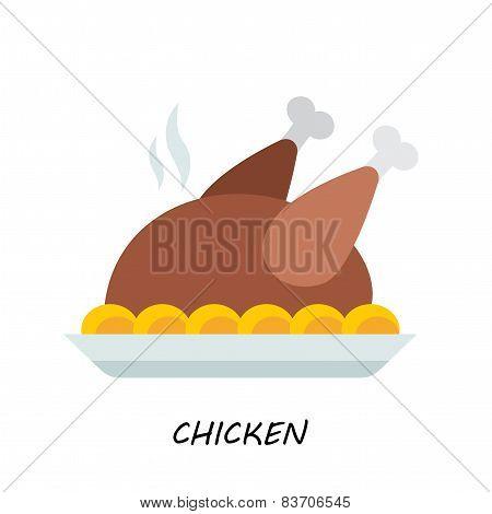 Baked chicken, turkey. flat style