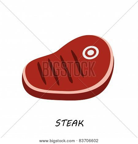 steak, chop meat, a piece of meat cuts. Vector flat design