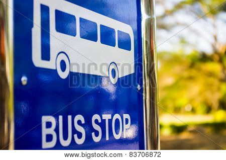 Bus Stop, blue traffic sign