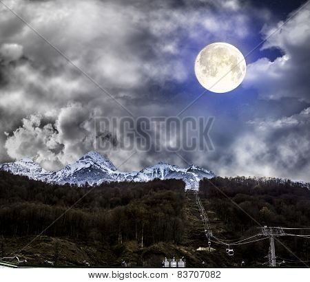 Mountain Ski Lifts At Krasnaya Polyana In The Light Of The Full Moon, Sochi, Russia