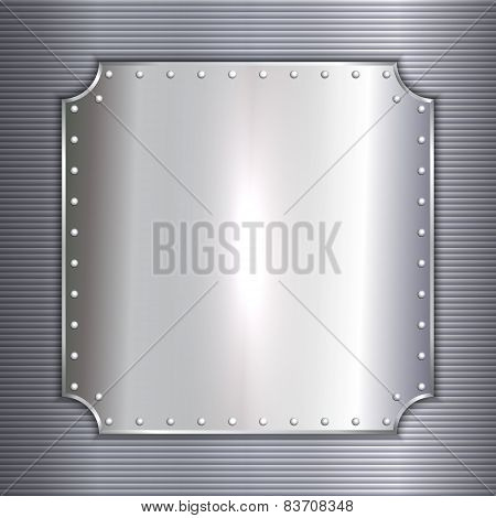Vector precious metal silver plate with rivets background