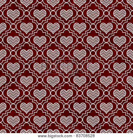 Red And White Chevron Hearts Tile Pattern Repeat Background