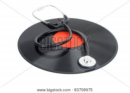 Stethoscope Lying Over Vinyl Record