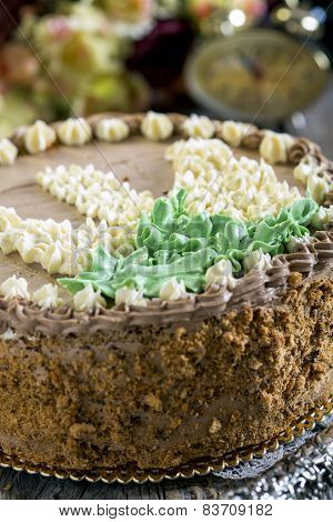 Walnut Cake With Butter Cream.