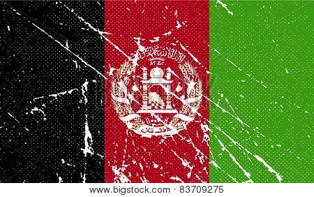 Flag Of Afghanistan With Old Texture. Vector