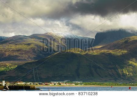 Ben Nevis Mountain And Fort William Town. Landscape In Highlands Of Scotland, Uk.