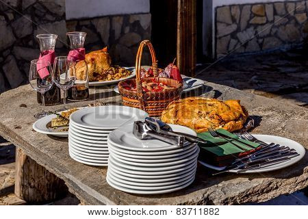 Red Wine And Food On Table For An Event