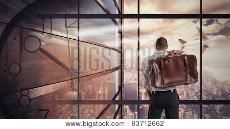Businessman looks at view