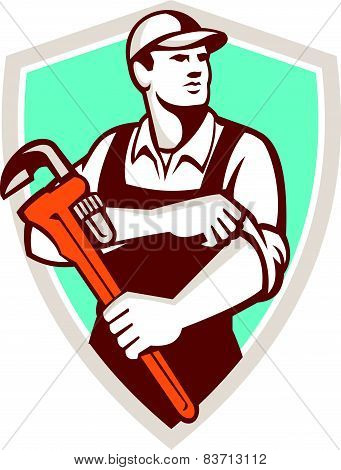 Plumber Monkey Wrench Rolling Sleeve Shield Retro