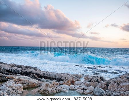 Sea With Waves And Clouds In The Sky
