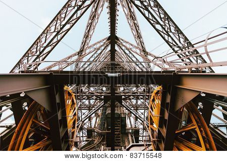 Eiffel tower elevator mechanism, Paris, France