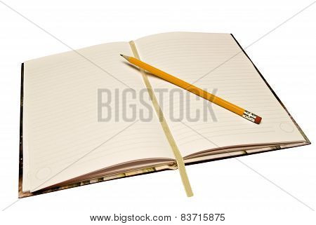 Journal Opened With Pencil And Ribbon