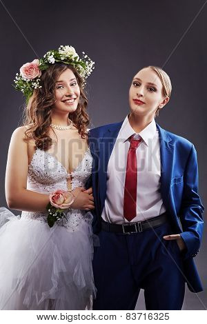Concept of same-sex marriage. Happy newlyweds