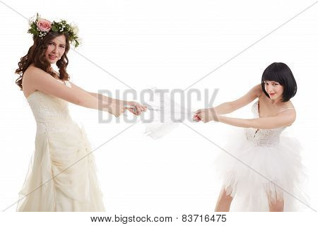 Pretty rivals in wedding dresses divide umbrella