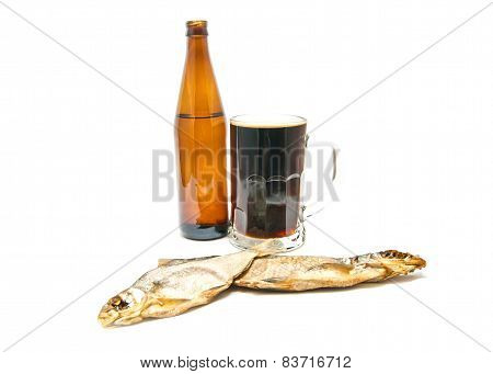 Dark Beer And Two Salted Fishes Closeup