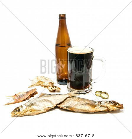 Dark Beer And Salty Fishes