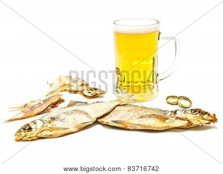 Salty Fishes And Glass Of Light Beer