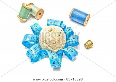 Spools Of Thread, Yarn And Meter