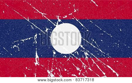 Flag Of Laos With Old Texture. Vector