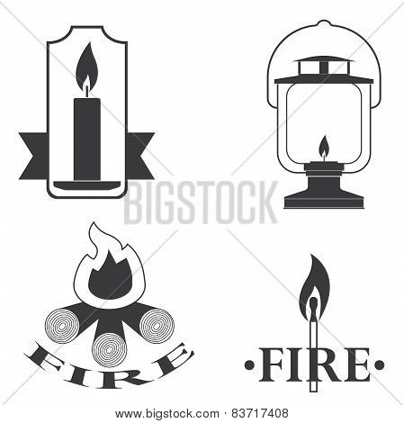 stylish vector logos depicting fire