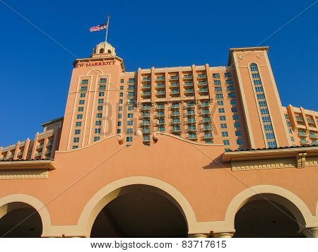Orlando, Florida, Usa - May 20, 2007: The Jw Marriott Orlando Hotel Becomes To  Grande Lakes Luxury