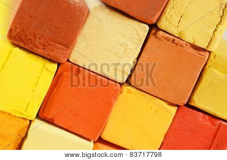 Creative Art Background - Closeup Of Bright Pastel Crayons With Yellow,orange,red And Ochre Colours