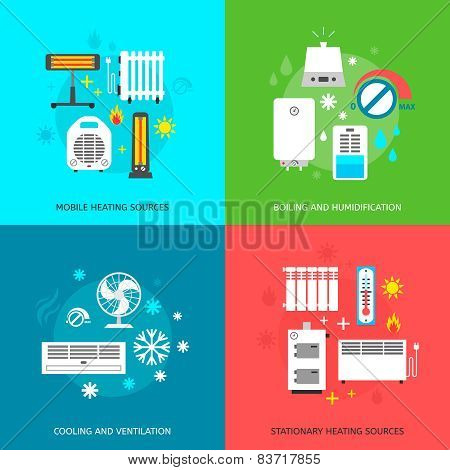 Heatingand conditioning icons set.