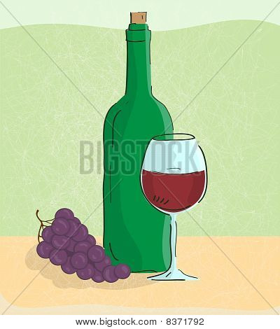 Grape Vine And Bottle Of Wine