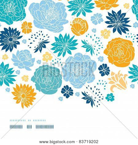 Blue and yellow flowersilhouettes horizontal decor seamless pattern background