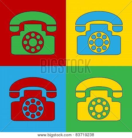 Pop Art Phone Simbol Icons.